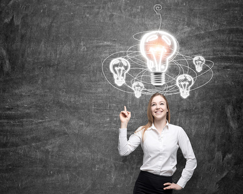 woman having light-bulb moment